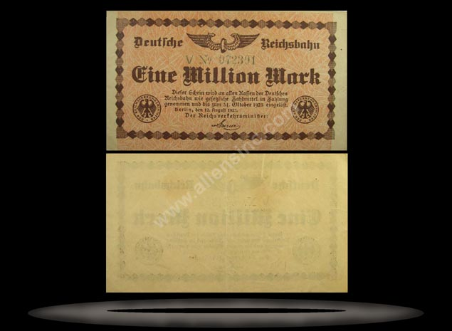 Railroads, Germany Banknote, 1 Million Mark, 12.8.1923, P#1011