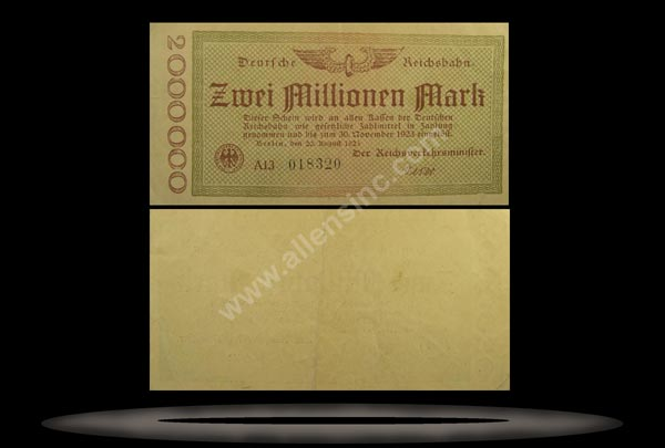 Railroads, Germany Banknote, 2 Millionen Mark, 20.8.1923, P#1012b