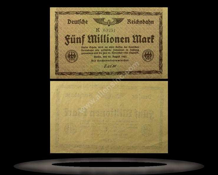 Railroads, Germany Banknote, 5 Millionen Mark, 22.8.1923, P#1013a