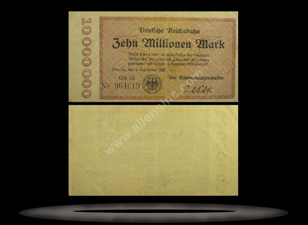 Railroads, Germany Banknote, 10 Millionen Mark, 2.9.1923, P#1014