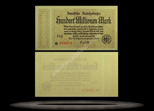 Railroads, Germany Banknote, 100 Millionen Mark, 25.9.1923, P#1017a