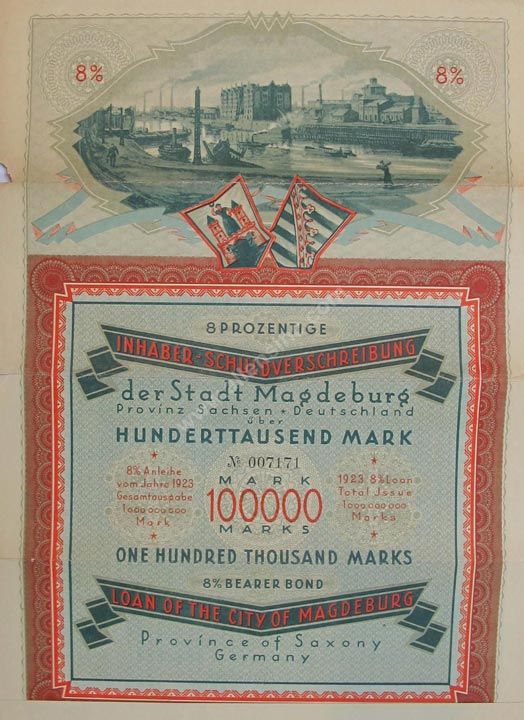 Inhaberschuldverschreibung Magdeburg Bearer Bond, Germany Banknote, 100,000 Mark, 1923, P#12