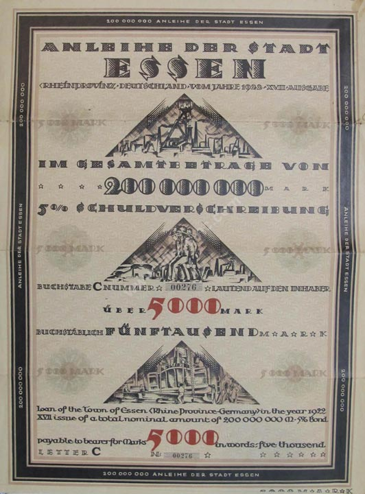 Stadt Essen Bond, Germany Banknote, 5000 Mark, 1922, P#15
