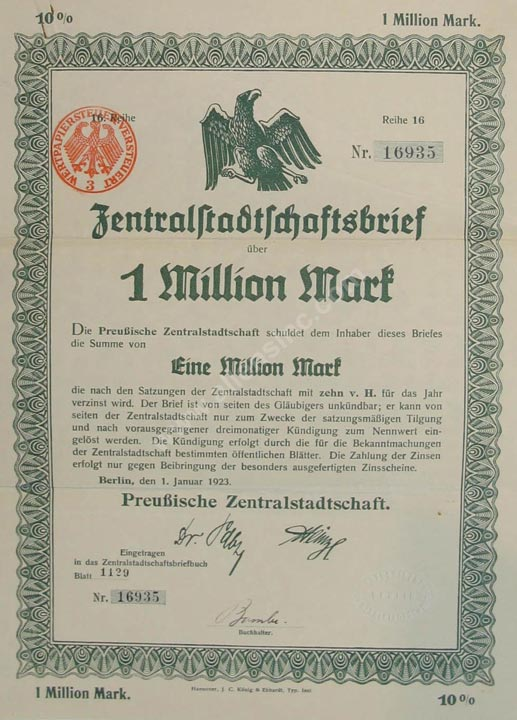 Preussische Zentralstadtschaft Bond, Germany Banknote, 1 Million Mark, 1.1.1923, P#8