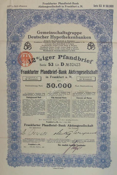 Frankfurter Pfandbrief-Bank Aktiengesellschaft Mortgage Bond, Germany Banknote, 50,000 Mark, 1.7.1923, P#9
