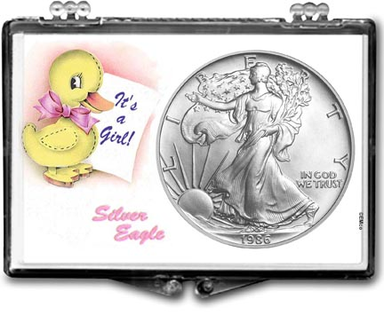 1986 It's A Girl, Duck Motif, American Silver Eagle Gift Display LARGE