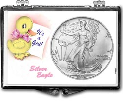 1990 It's A Girl, Duck Motif, American Silver Eagle Gift Display THUMBNAIL