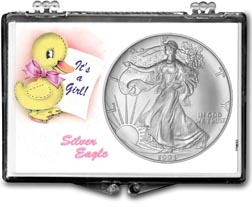 1993 It's A Girl, Duck Motif, American Silver Eagle Gift Display THUMBNAIL