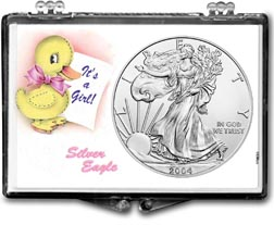 2004 It's A Girl, Duck Motif, American Silver Eagle Gift Display THUMBNAIL