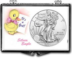 2007 It's A Girl, Duck Motif, American Silver Eagle Gift Display THUMBNAIL