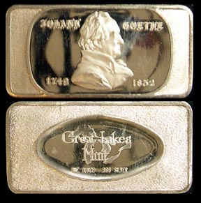 Johann Goethe 1749-1832' Art Bar by Great Lakes Mint. MAIN