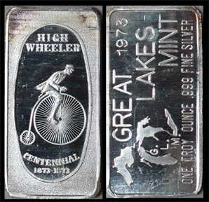 High Wheeler Centennial (Bicycle)' Art Bar by Great Lakes Mint.