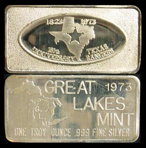 Texas 150th Anniversary' Art Bar by Great Lakes Mint.