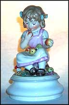 Girl Eating Apples, Goebel Lore Blumenkinder Figurine  #11271-15