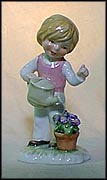 Boy Watering Flowers, Goebel Lore Blumenkinder Figurine  #11285-12