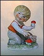 Boy Picking Mushrooms, Goebel Lore Blumenkinder Figurine  #11291-09