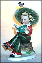 Girl Reading Book On Stump, Goebel Figurine by Nasha  #Na5