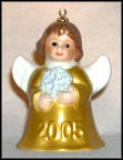 2005 Angel With Snowflake - Gold, Goebel Angel Bell
