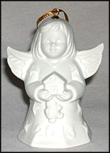 2013 Angel With Gingerbread House - White, Goebel Angel Bell