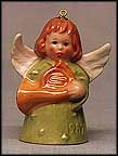 1982 Angel With French Horn - Green, Goebel Angel Bell