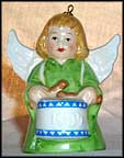 1984 Angel With Drum - Green, Goebel Angel Bell