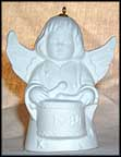 1984 Angel With Drum - White, Goebel Angel Bell