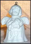1991 Angel With Teddy Bear - White, Goebel Angel Bell