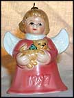 1997 Angel With Kitten - Red, Goebel Angel Bell