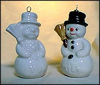 1984 Snowman white, Goebel Annual Christmas Ornament