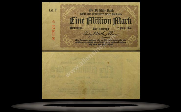 Baden, German States Banknote, 1 Million Mark, 8.7.1923, P#912