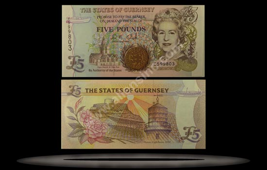 Guernsey Banknote, 5 Pounds, ND (1996), P#56b