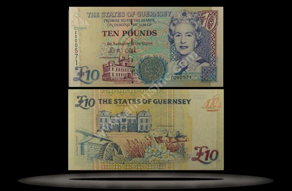Guernsey Banknote, 10 Pounds, ND (1995), P#57b
