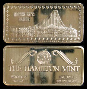 Golden Gate Bridge' Art Bar by Hamilton Mint. MAIN