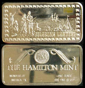 Pilgrims' Landing' Art Bar by Hamilton Mint.
