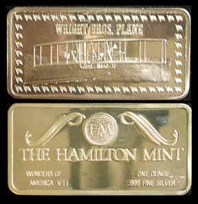 Wright Brothers' Plane' Art Bar by Hamilton Mint.