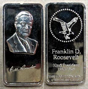 Franklin D. Roosevelt' Art Bar by Hamilton Mint.