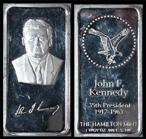 John F. Kennedy' Art Bar by Hamilton Mint.
