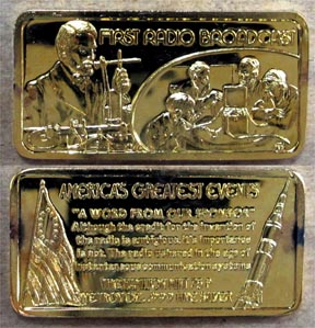First Radio Broadcast, gold plated' Art Bar by Hamilton Mint. MAIN