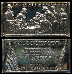 Signing of the Constitution, gold plated' Art Bar by Hamilton Mint.