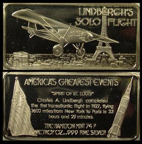 Lindbergh's Solo Flight' Art Bar by Hamilton Mint.