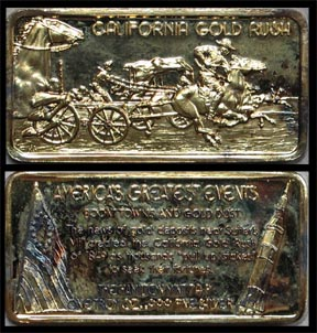 California Gold Rush, gold plated' Art Bar by Hamilton Mint.