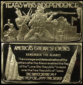 Texas Wins Independence' Art Bar by Hamilton Mint.