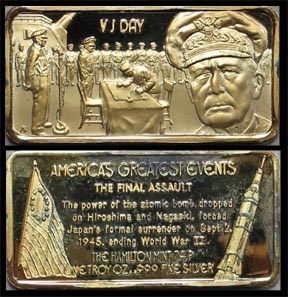 VJ Day, gold plated' Art Bar by Hamilton Mint.