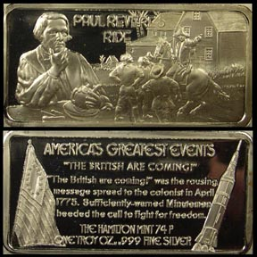 Paul Revere's Ride' Art Bar by Hamilton Mint.