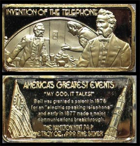 Invention of the Telephone, gold plated' Art Bar by Hamilton Mint.