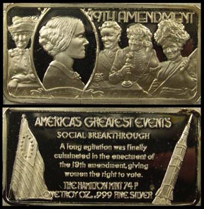 Nineteenth Amendment' Art Bar by Hamilton Mint.