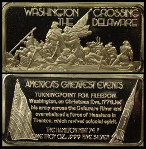 Washington Crossing The Delaware' Art Bar by Hamilton Mint.