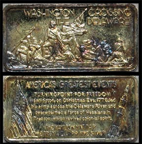 Washington Crossing The Delaware, gold plated' Art Bar by Hamilton Mint.