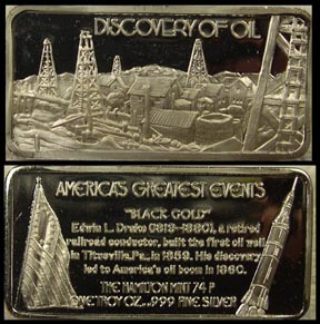 Discovery of Oil' Art Bar by Hamilton Mint. MAIN