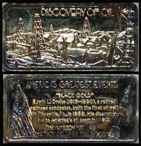Discovery of Oil, gold plated' Art Bar by Hamilton Mint. MAIN